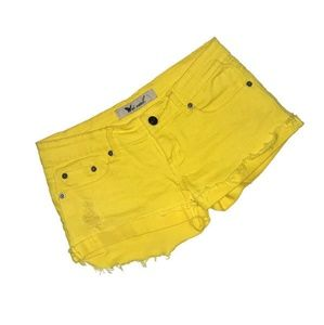 Wet Seal distressed denim shorts size 1 yellow